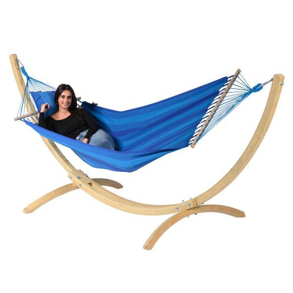Wood & Relax Blue Hamac Sur Pied Une Place