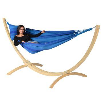 Wood & Dream Blue Hamac Sur Pied Une Place