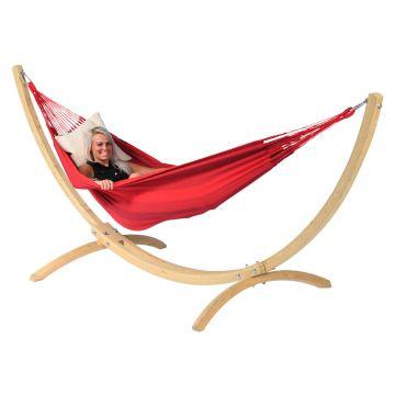 Wood & Dream Red Hamac Sur Pied Une Place