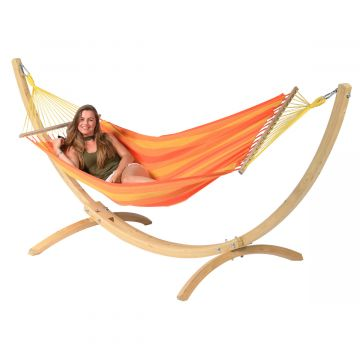 Wood & Relax Orange Hamac Sur Pied Une Place