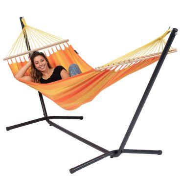 Easy & Relax Orange Hamac Sur Pied Une Place