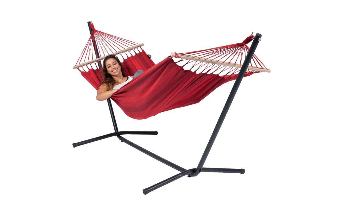 'Easy & Relax' Red Hamac Sur Pied Une Place
