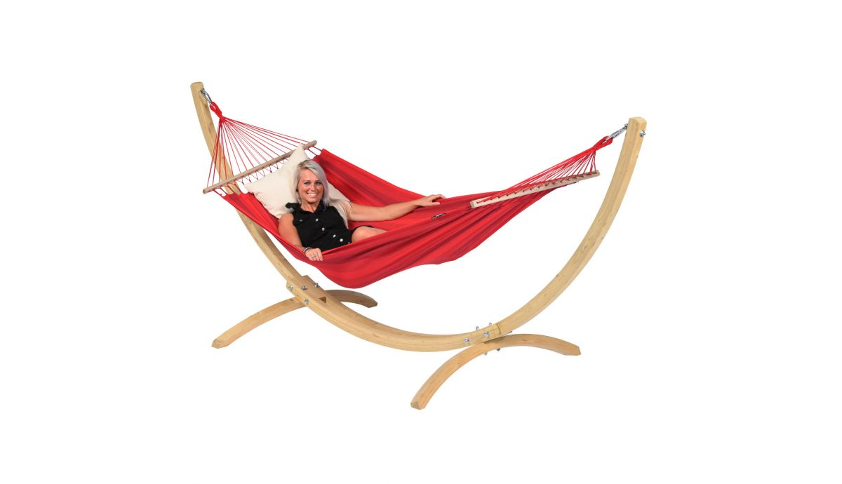 'Wood & Relax' Red Hamac Sur Pied Une Place